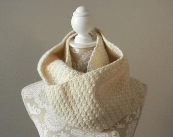 Cream Infinity Scarf Crocheted