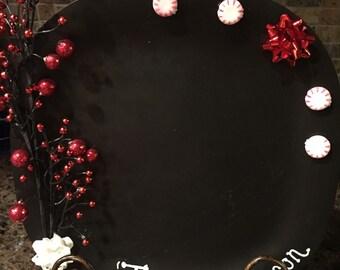 "Chalkboard Christmas Plate ""tis the season"" decor, Seasonal Decor"