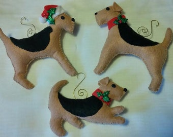 Welsh Terrier or Airedale Christmas Ornaments