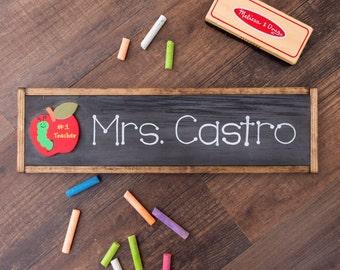 Teacher name sign // Teacher name plate // chalkboard wood sign for teachers // gifts for teachers // school decor // teacher decor