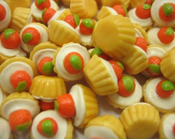 Dolls House Miniature Food Lot 10 Fruit Cupcake Orange Topping Supply Art Deco Charms - 6539