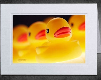 Photo Notecard, Yellow Rubber Ducks in a Row, Photo Greeting Card, Photography Notecard, Linen Texture, Children's Card, Whimsical, Amusing