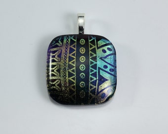 Fused Glass Geometric Design Dichroic Pendant Blue Green Pink Yellow Pendant Glass Pendant