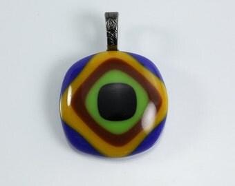 Geometric Design Fused Glass Pendant Green Black Blue Brown Yellow Glass Pendant Layered Pendant