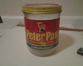 Vintage Peter Pan Crunchy Peanut Butter Glass Jar with Metal Screw smooth creamy Lid large 48 ounce oz glass