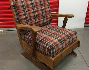 Antique Wood Rocking Chair w/ Plaid Upholstery