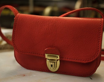 Little red bag. Handmade in Italy with first choice leather.