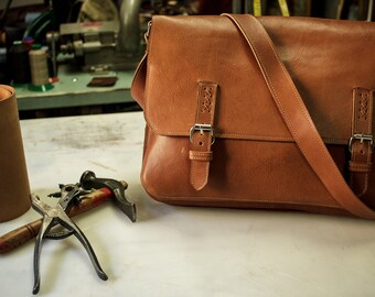 Hand made briefcase, First quality italian leather.