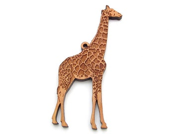 Giraffe Ornament Wood - Nestled Pines Zoo Animal Collection