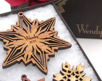 Babys First Christmas Ornament Natural Wood Sustainable Snowflake Christmas Ornament Personalized First Ornament