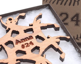 Softball Christmas Ornament - Personalized Softball Gift Wood Snowflake Ornament by Nestled Pines