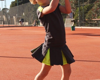 Karolina Grey and Neon Girls Tennis Outfit | Tennis Skirt | Junior Tennis | Tennis Outfit