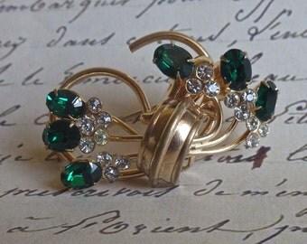 ART DECO VINTAGE Brooch with Rhinestones and Emerald Green Stones