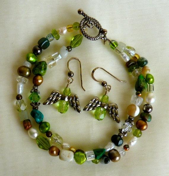 MULTI GEMSTONE VINTAGE Two Strand Bracelet with Earrings