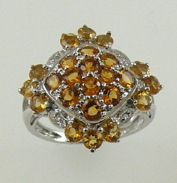 Citrine Ring 2.25ct - 14k White Gold with Diamond