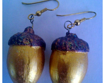 Acorn Earrings Handmade and Painted