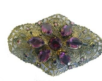 LARGE Filigree Vintage Czech Brooch - Purple, Amethyst