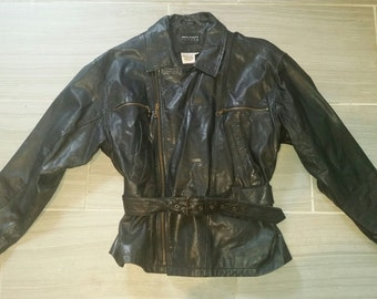 Woman's Early 1990s Genuine Leather Jacket Size 12