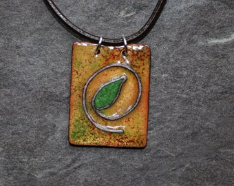 Gold and green bud pendant