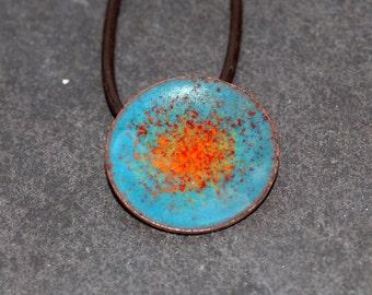 Blue and orange copper and enamel disc pendant
