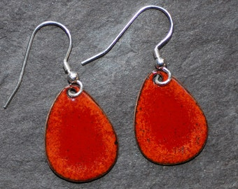 Red and orange copper and enamel egg earrings