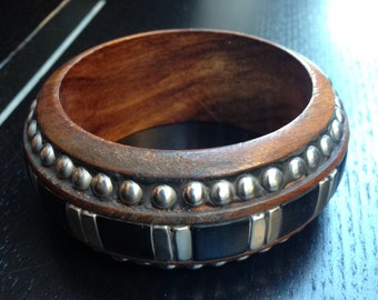 One Chunky Wood Bracelet with Metal Studs and Inlays