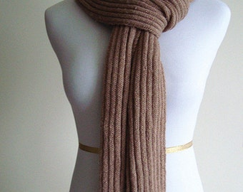 100% Cashmere Hand Knit Scarf (Beige 0015) - Extra Long