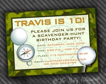 Scavenger Hunt Birthday Party Invitation  / Digital File