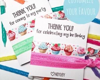 Custom Birthday Party 2 set of hair ties bracelet favours > personalised gift girls teen tween favor party bag thank you cupcake