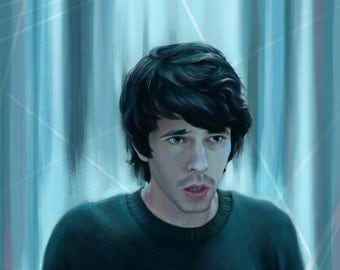 Art Print: Digital Portrait Painting of Ben Whishaw as Danny in BBC TV's London Spy - high quality A3 size 250gsm paper