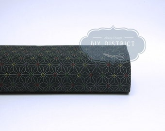Japanese traditional fabric Asanoha black.
