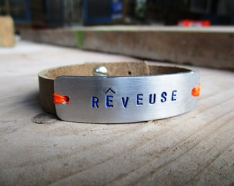 HANDMADE Custom Leather Bracelet with an aluminum tag with your personal text and button closure (1 or 2 words).