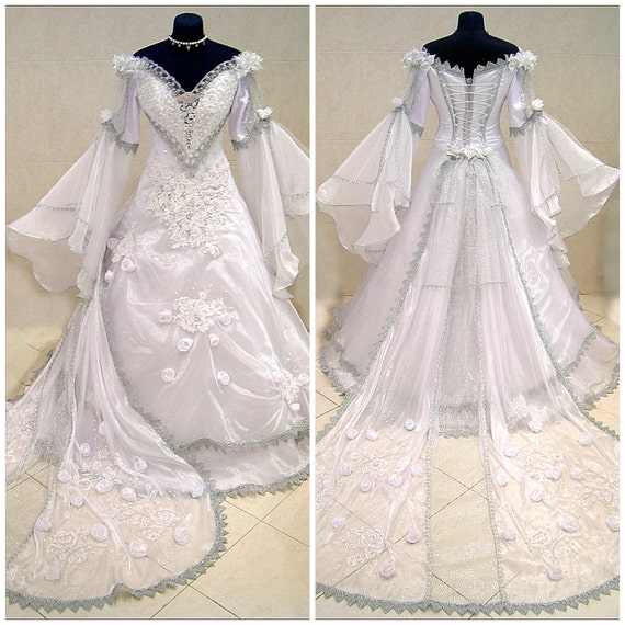 Medieval wedding dress white gothic witch tudor by astrastarl for Tudor style wedding dress