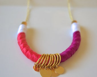 Gold and Pink Flora Necklace, Pink Statement Necklace, Charm Necklace, Gold Necklace