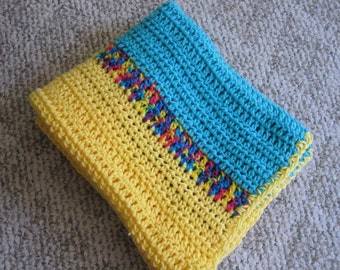 "Bright Multicolor Handcrochet Lap Shawl, 44"" x 25"""