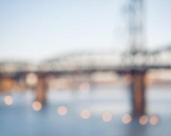 Bridge Photography, Large Canvas, Portland Oregon, Abstract Bridge art, Blurry lights, Light Blue Canvas, Hawthorne bridge, Bokeh photograph