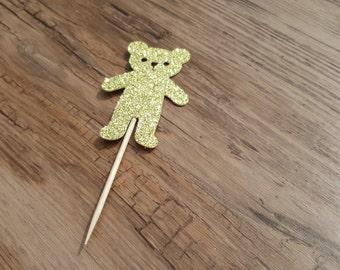 Gold teddy bear cupcake topper
