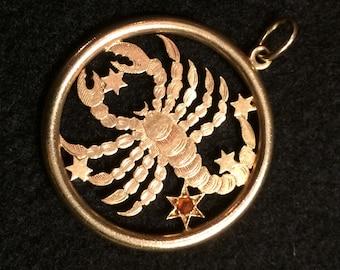 SALE!!! New Lower Price! - 14K Gold Stamped Scorpio/Scorpion Charm with Birthstone [topaz]