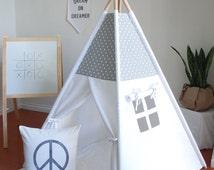 FREE SHIPPING*, Grey and White Mini Print Swiss Cross Canvas Teepee, Play Tent, Kids Teepee, Childrens Teepee, Teepee Tent, Playhouse
