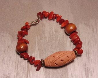 Terracotta Gemstone Tribal Bracelet