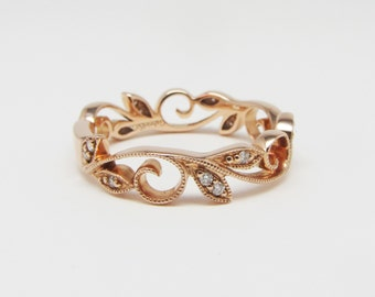 14K Rose Gold Ivy Style Stackable Diamond Ring