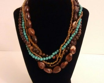 Vintage Brown and Turquoise Beaded Necklace