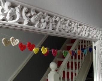 Hearts Garland - Crochet Garland - Crochet bunting - Coloured heart Bunting - rainbow bunting