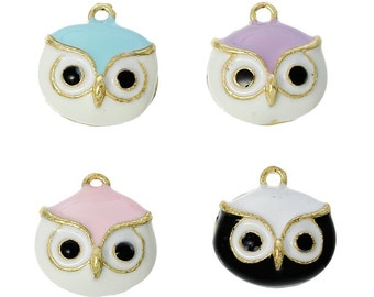 4 Colorful Owl Charms, Gold Plated Enamel (1E-82)