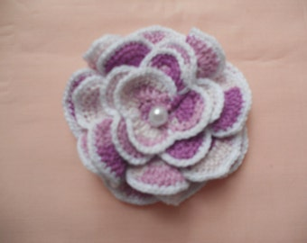 Crochet white pink rose with pearl on the center