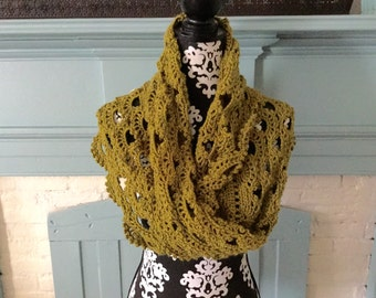 Crochet Wool Blend Wrap-Shawl- Infinity Scarf Lemongrass One Size Fits All