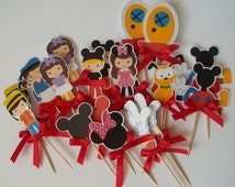 Mickey Cupcake Toppers - Mickey Mouse Club House toppers - Cake Toppers - Birthday - Mickey - Food Picks - Appetizer picks - Set of 22