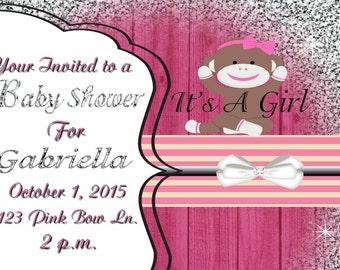 Glittery Pink sock monkey baby shower invitation