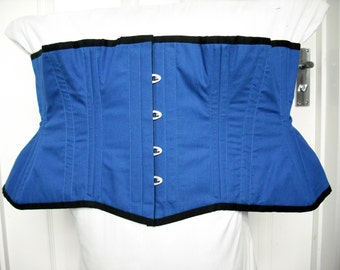 Sample blue cotton corset, 40 inches