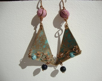 ethnic bronze, turquoise, pearl earrings of moon
